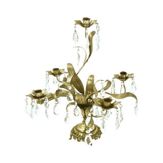 Hollywood Regency Gold Leaf Tole Candelabra