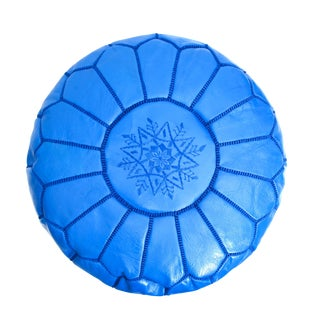 Atlas Blue Leather Pouf