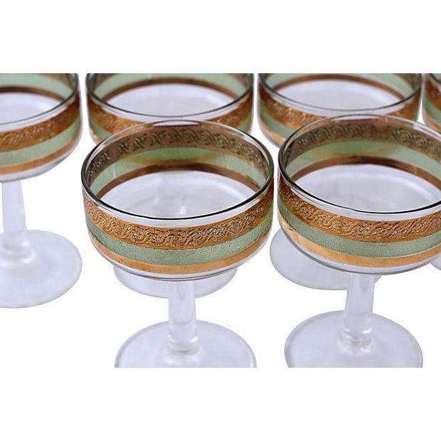 Mid-Century Gilt & Green Stem Glasses - Set of 6 - Image 2 of 2