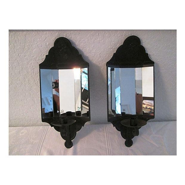 Black Mirrored Candle Wall Sconces - A Pair - Image 2 of 8