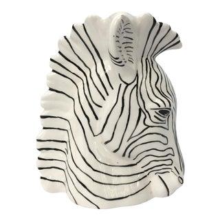 Sculptural Ceramic Zebra Head Vase