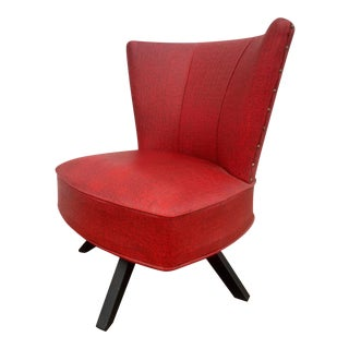 Mid-Century Red Swivel Chair