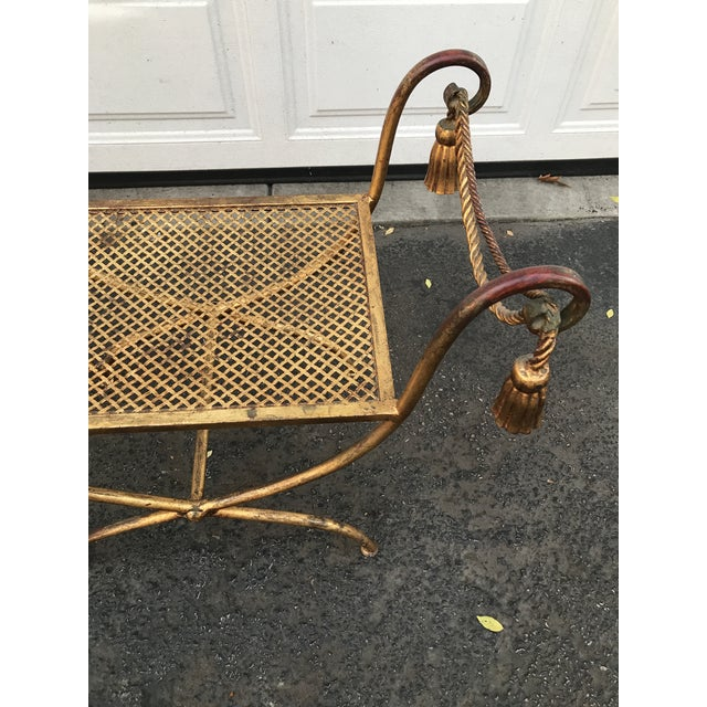 Italian Gilt Metal Rope and Tassel Double X Base Bench - Image 5 of 9