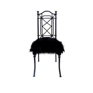 Vintage Black & Gold Metal Faux Bamboo Chair