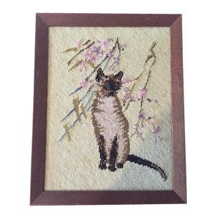 Siamese Cat Framed Needlepoint