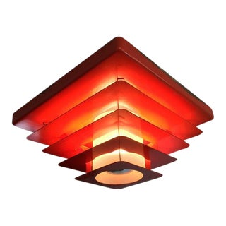 1960's Red Steel Flush Mount Lighting Fixture