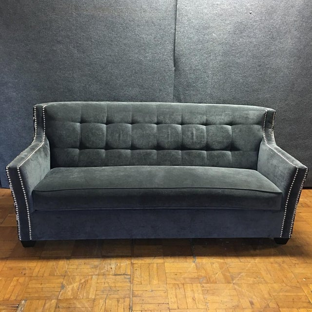 Fleur de lis studded sofa chairish for Studded sofa sets