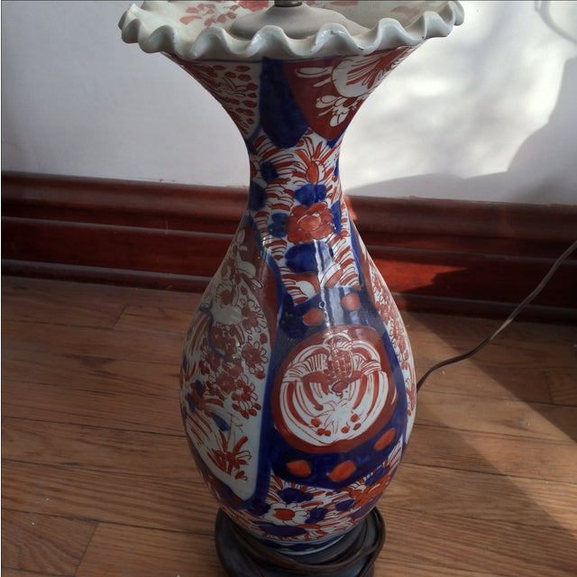 Antique Chinese Red & Blue Porcelain Table Lamp - Image 4 of 11