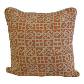 Geometric Orange & Natural Linen Pillow