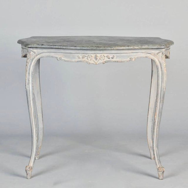 Antique French Painted and Carved Blue Side Table c.1920 - Image 3 of 10