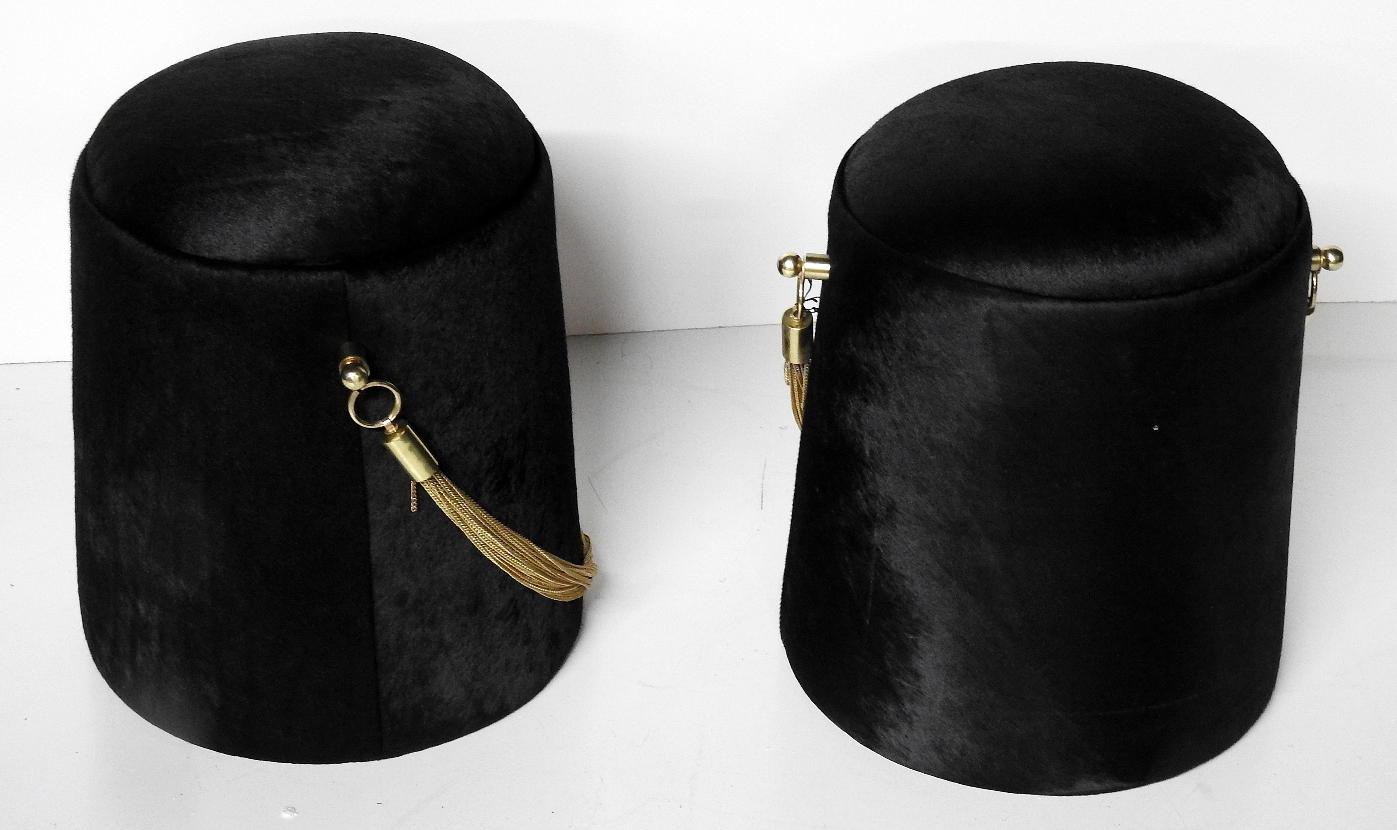 Quot Bearskin Hat Quot Black Amp Gold Poufs A Pair Chairish