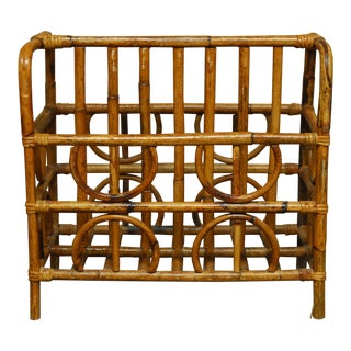 Mid-Century Bamboo Canterbury Magazine Rack