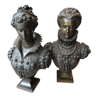 Antique Bronze Bust Marie Queen of Scots & Marie De Medici