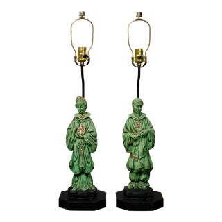 Antique Asian Figurine Table Lamps - A Pair