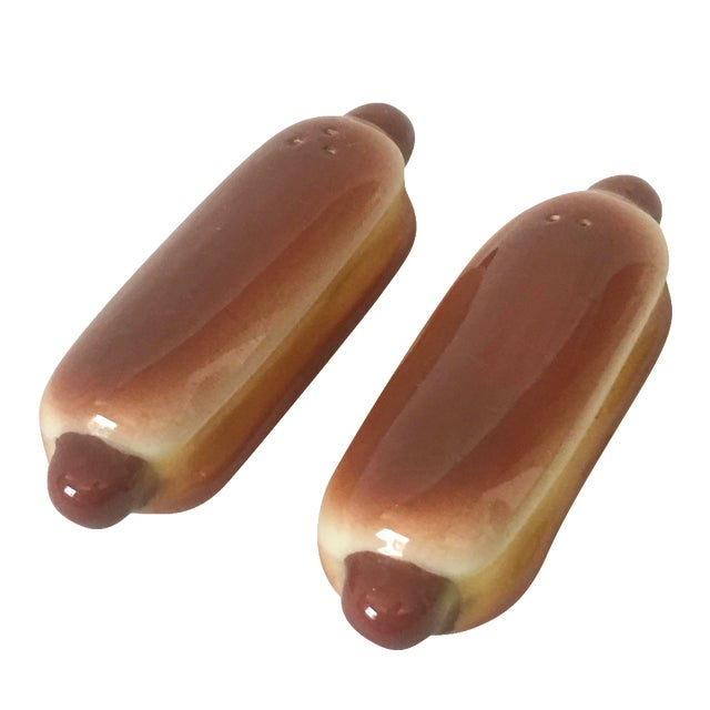 Image of Vintage Mid-Century Hotdog Salt & Pepper Shakers