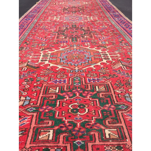 "Vintage Heriz Persian Red Runner - 4'6"" x 12'3"" - Image 6 of 11"