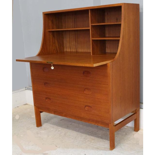 danish modern teak secretary desk chairish. Black Bedroom Furniture Sets. Home Design Ideas