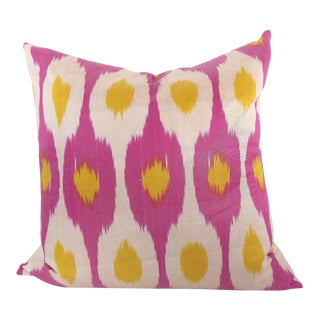 Pink & Yellow Woven Silk Ikat Pillow