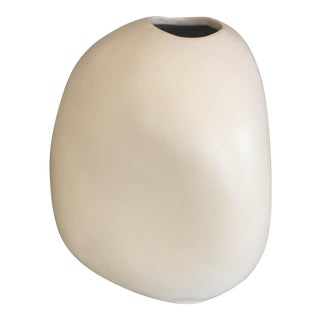 Mid-Century Neutral Free Form Vase in Matte Finish