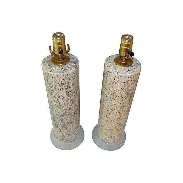 Midcentury Spatter-Painted Lamps - Pair - Image 4 of 4