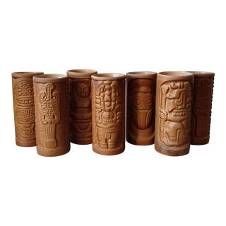 Vintage HandmadeTiki Pottery Mugs - Set of 7