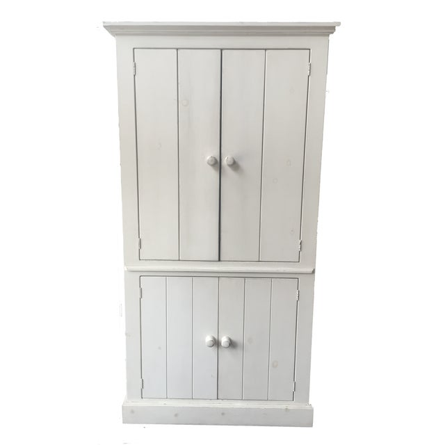Rustic White Wood Armoire - Image 1 of 6