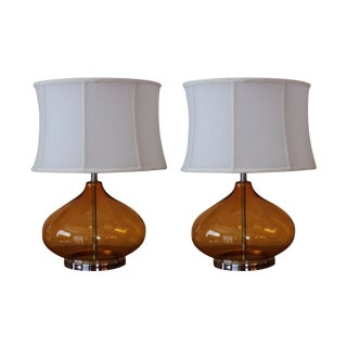 Amber Glass Table Lamps - A Pair