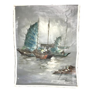 Vintage Signed Tang Ping Sailboat Oil Painting