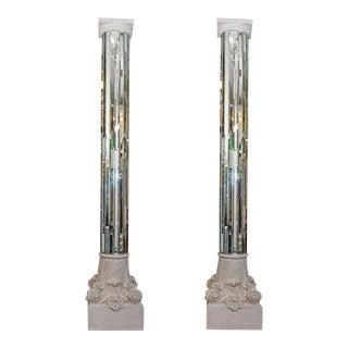 Modern Neoclassical Mirrored White Columns - A Pair