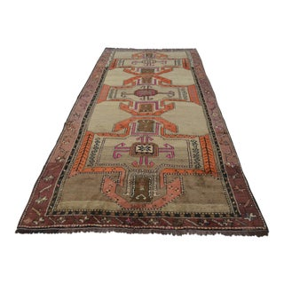 Hand Knotted Orange Herki Tribal Rug - 5′3 ″ x 11′3″