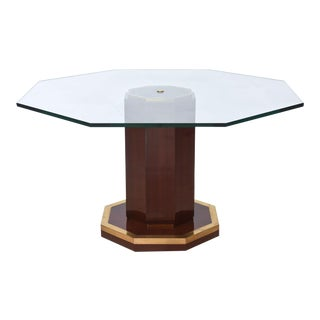 French Modern Mahogany, Bronze and Glass Center Table, Attributed to J. Quinet
