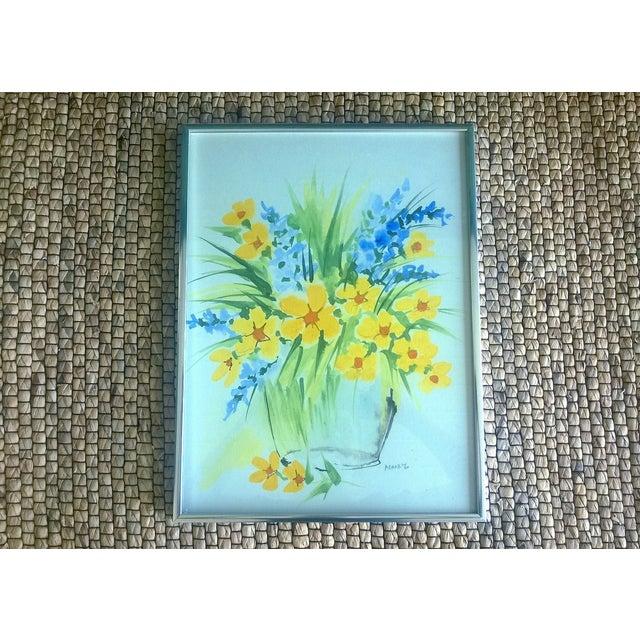 Image of Vintage 1970's Floral Watercolor Art