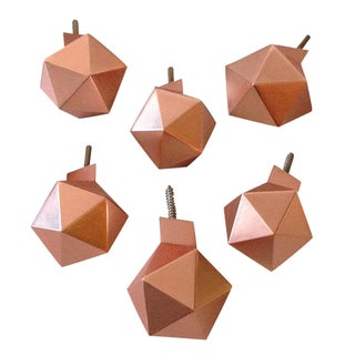 Geometric Copper Wall Knobs - Set of 6