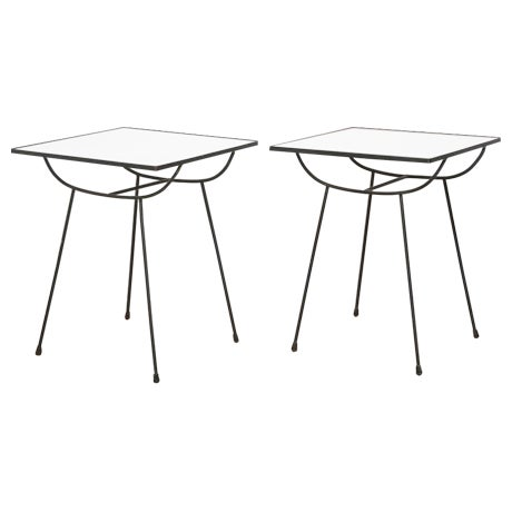 George Nelson Milk Glass Side Tables - Pair - Image 1 of 8