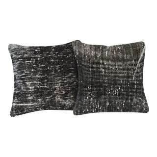 Black Handmade Overdyed Pillow Covers - Pair