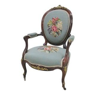 Victorian Rosewood Ormolu Needlepoint Arm Chair