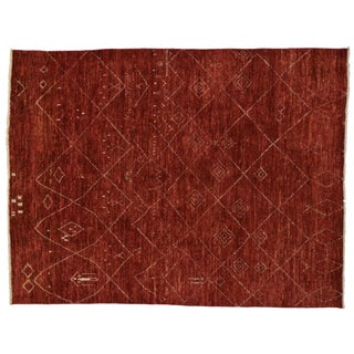 "Contemporary Red Moroccan Style Area Rug with Tribal Design - 9'2"" x 12'"