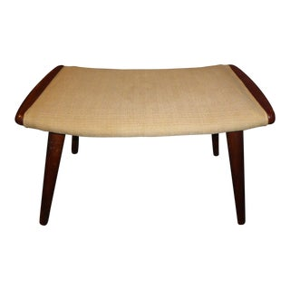 Danish Modern Beige Fabric & Teak Peg Leg Bench