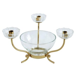 Swedish Three-Arm Brass Candelabra by Ystad Metall