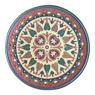 Mid Century Greek Enamel Inlay Brass Decorative Plate