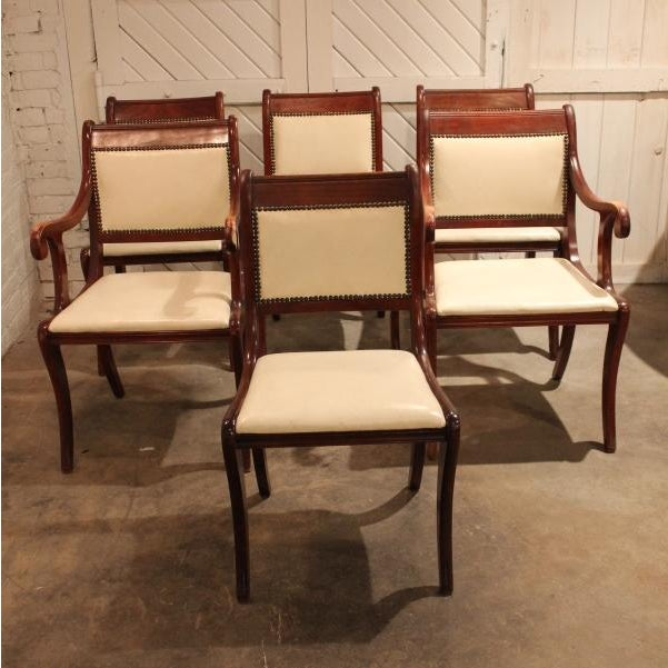 six vintage regency style dining chairs with white faux leather upholstery chairish. Black Bedroom Furniture Sets. Home Design Ideas