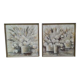 Stephen Kaye Textured Abstract Oil Paintings- Pair