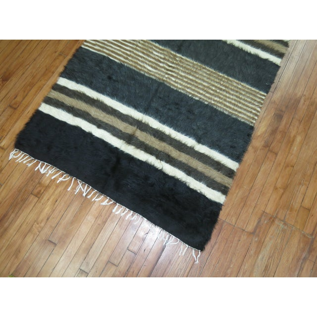 "Vintage Striped Mohair Rug / Throw - 4'4"" x 6' - Image 5 of 6"