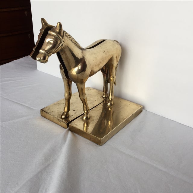 Image of Brass Split Horse Bookends - A Pair
