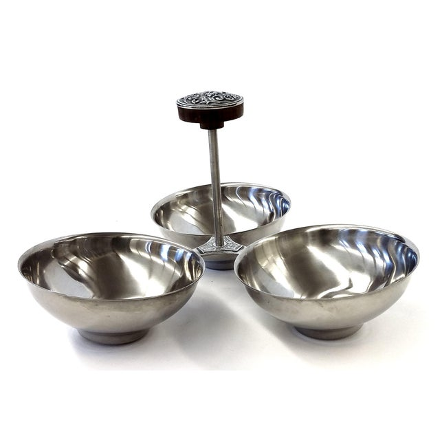 Image of Mid-Century Stainless Steel Condiment & Nut Holder