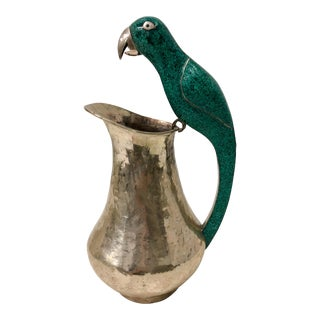 Mexican Silver & Malachite Bird Pitcher