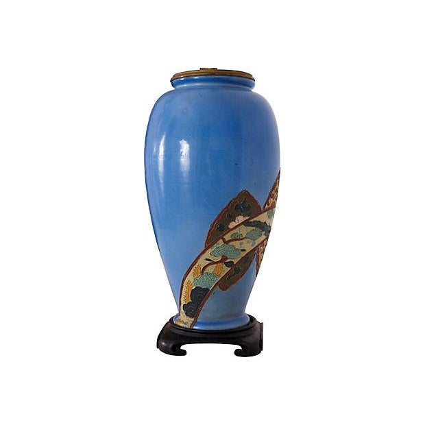 Antique Chinoiserie Blue Vase Lamp - Image 4 of 6