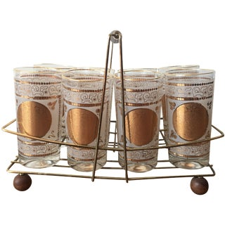 Gold Highball Glasses With Caddy - Set of 8