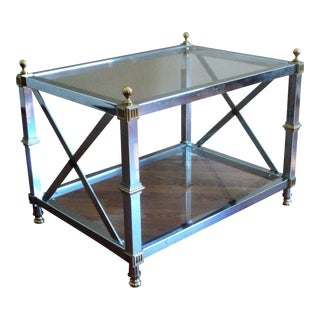 Maison Jansen Style Chrome & Brass End Table