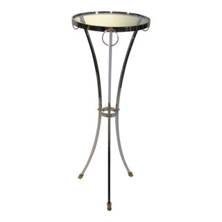 Elegant Maison Jansen Empire Style Chrome and Brass Pedestal Table